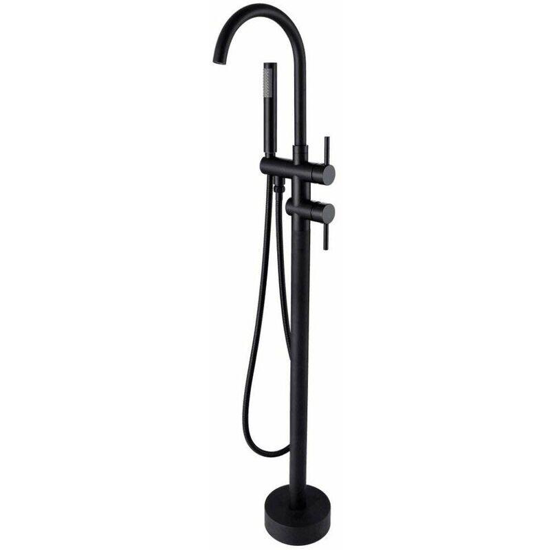 LOOKSHOP Robinet de baignoire sur pied à col de cygne et douchette en noir