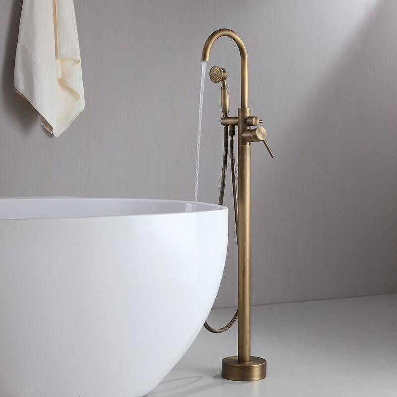 LOOKSHOP Robinet de baignoire sur pied classique en bronze avec douchette