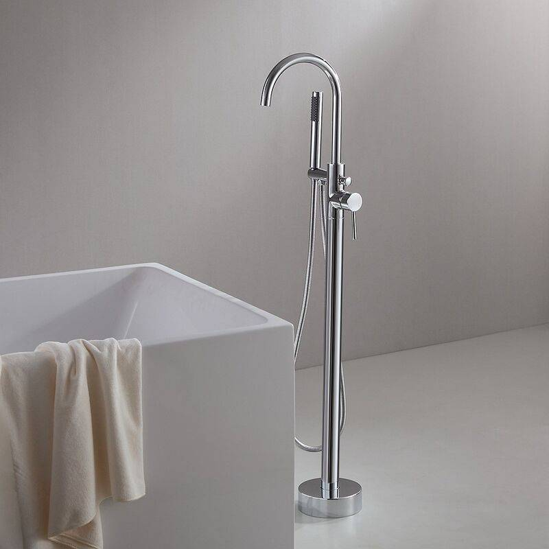 LOOKSHOP Robinet de baignoire sur pied moderne avec fixation au sol en chromé