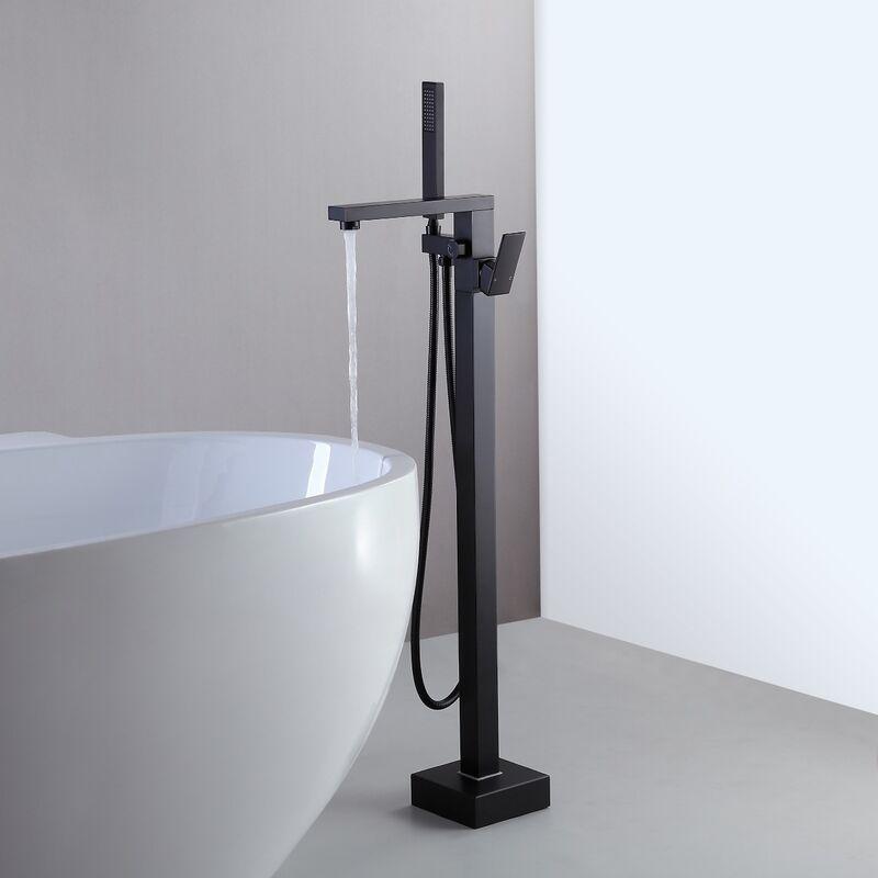 LOOKSHOP Robinet de baignoire sur plage moderne à poignée unique en noir solide