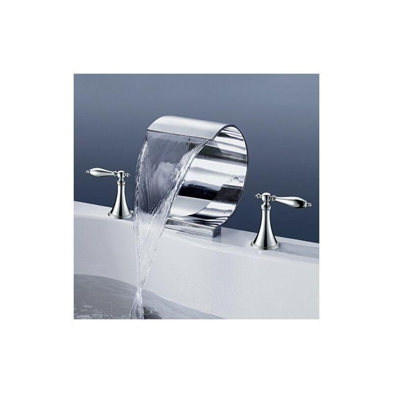 KROOS® Robinet de baignoire sur plage sophistiqué à deux leviers en chrome