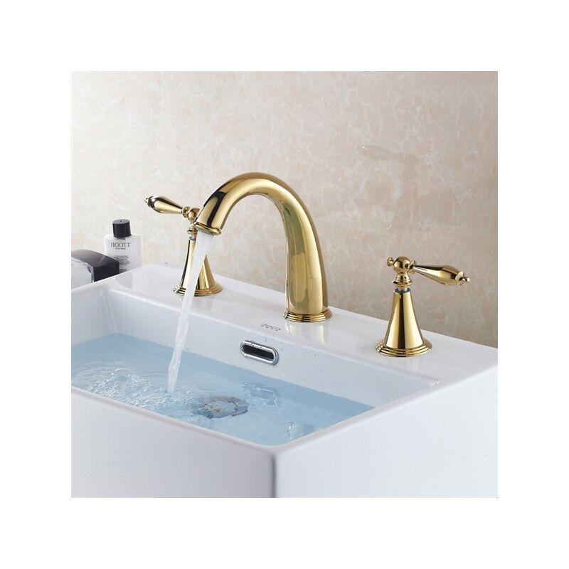 KROOS Robinet de lavabo multi trou design courbé doré - KROOS