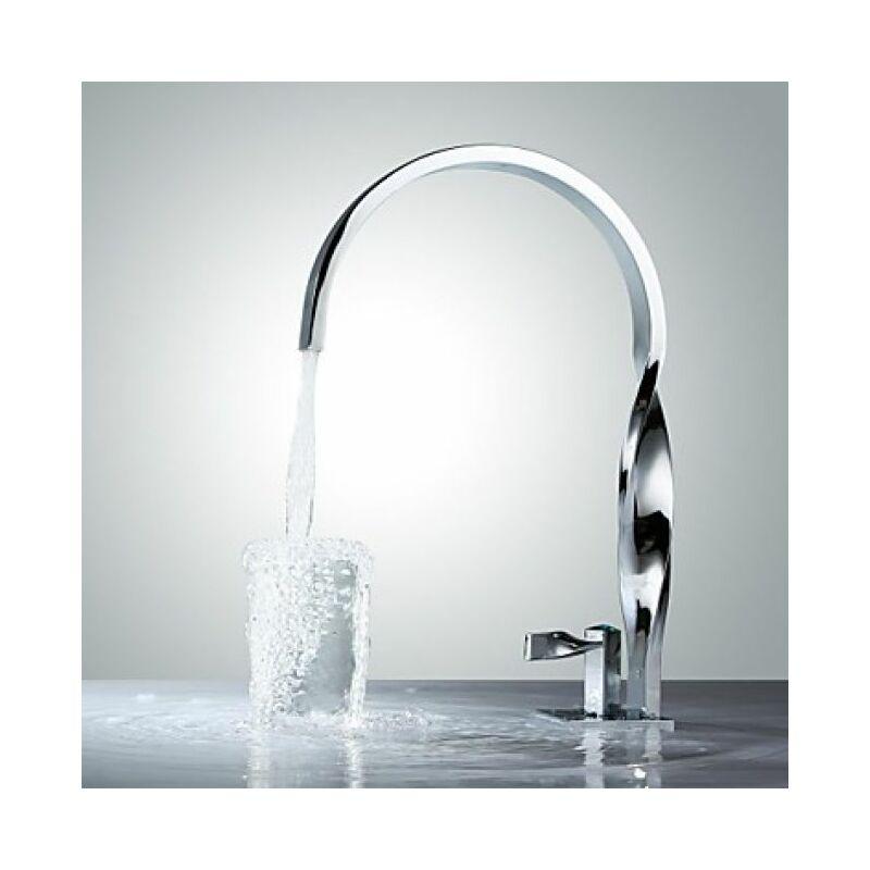 LOOKSHOP Robinet lavabo à bec courbé, style contemporain et finition chromée