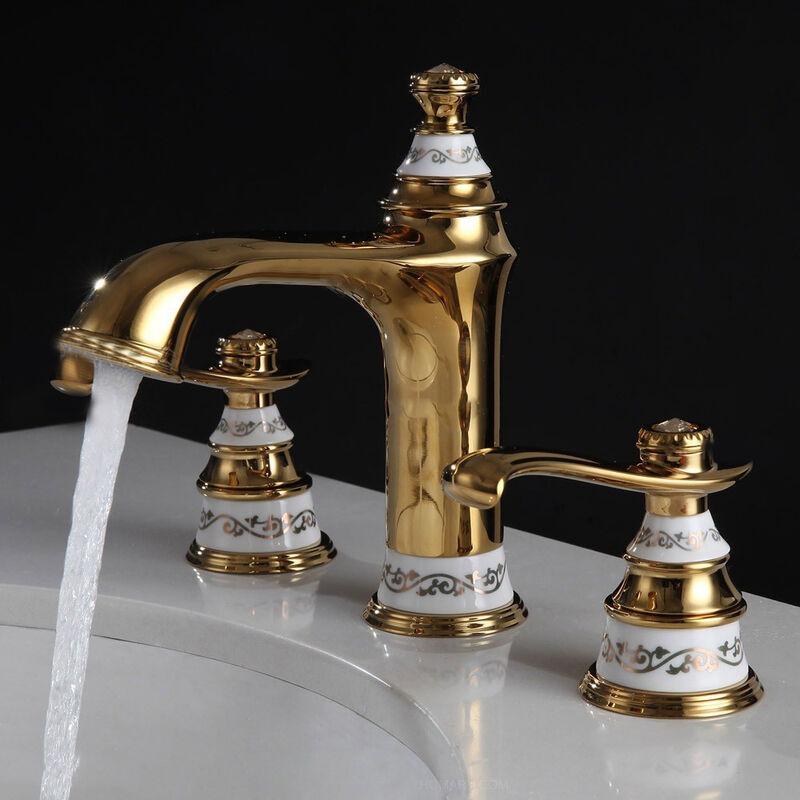 KROOS® Robinet lavabo mélangeur style classique en laiton solide doré - KROOS®