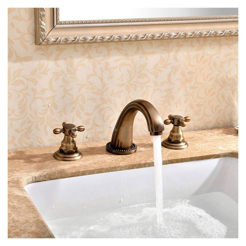 LOOKSHOP Robinet lavabo mélangeur style vintage en laiton massif bronze