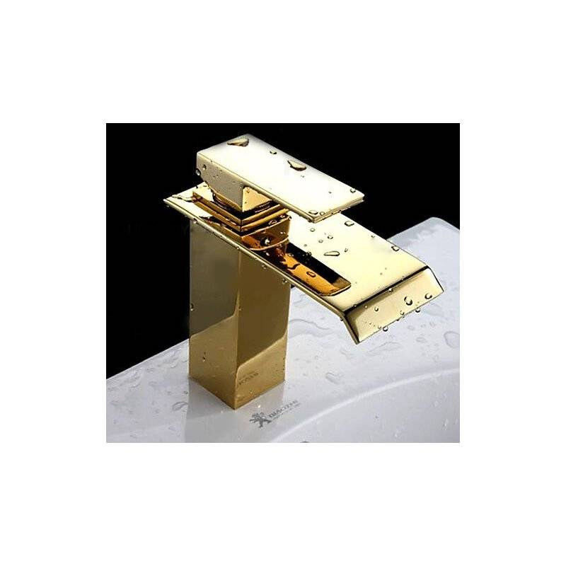 KROOS® Robinet lavabo mitigeur contemporain avec bec en cascade en doré