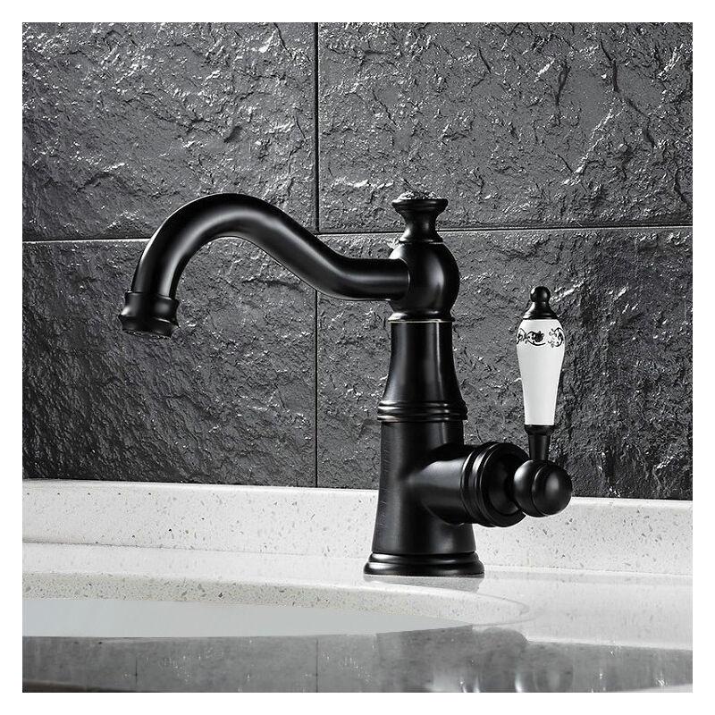 LOOKSHOP Robinet lavabo mitigeur style rétro avec poignée en porcelaine Noir