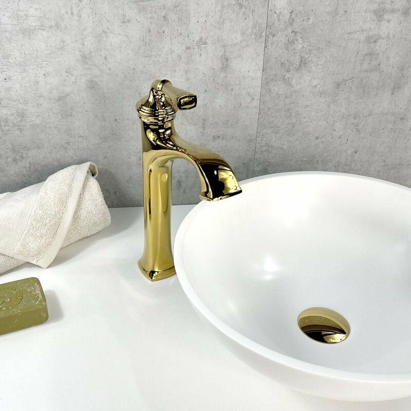 KROOS Robinet lavabo mitigeur style vintage en laiton solide doré - KROOS
