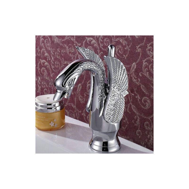 LOOKSHOP Robinet lavabo mitigeur traditionnel sous forme de cygne Chromé