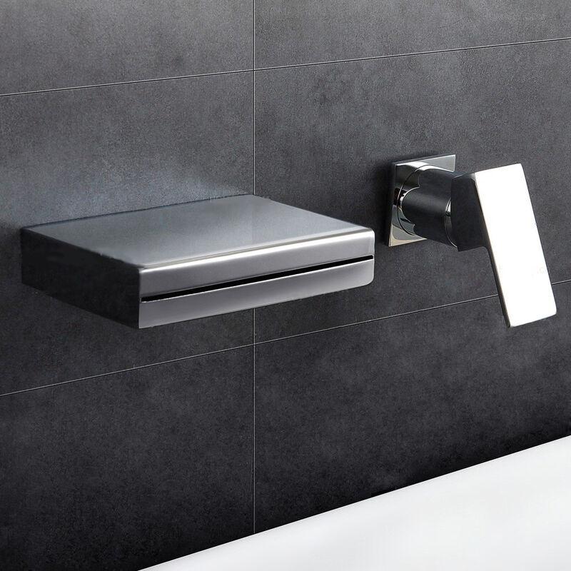 LOOKSHOP Robinet lavabo mural contemporain en chromé poli Sans LED - LOOKSHOP