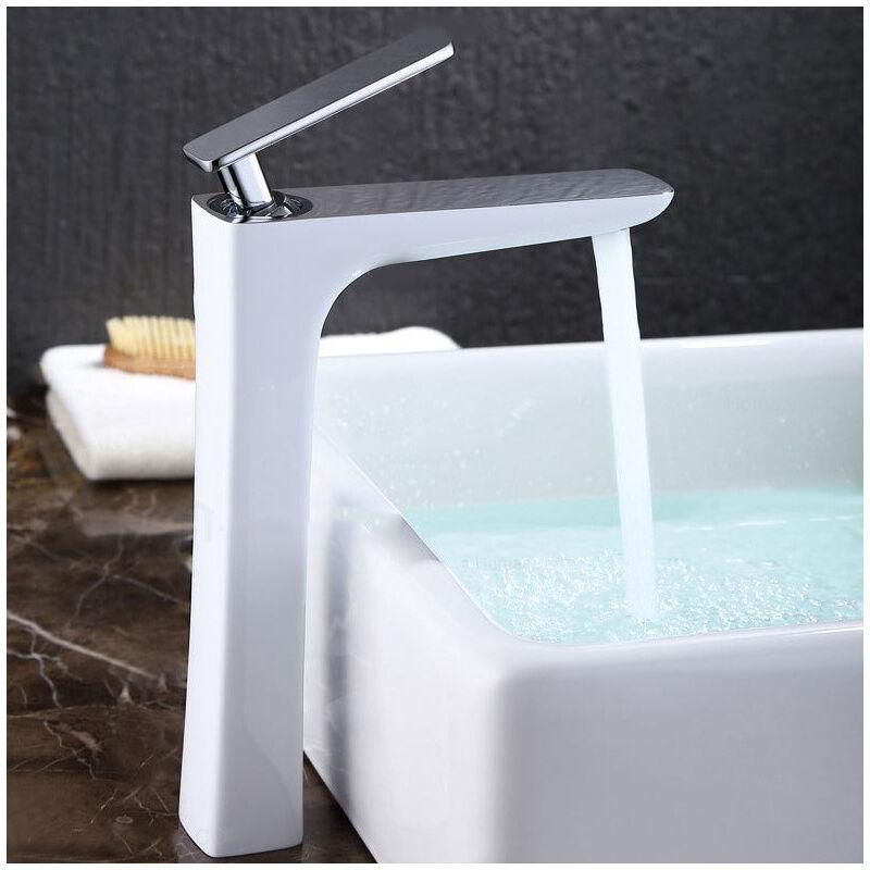 KROOS® Robinet lavabo surélevé moderne en laiton massif Blanc Chromé - KROOS®