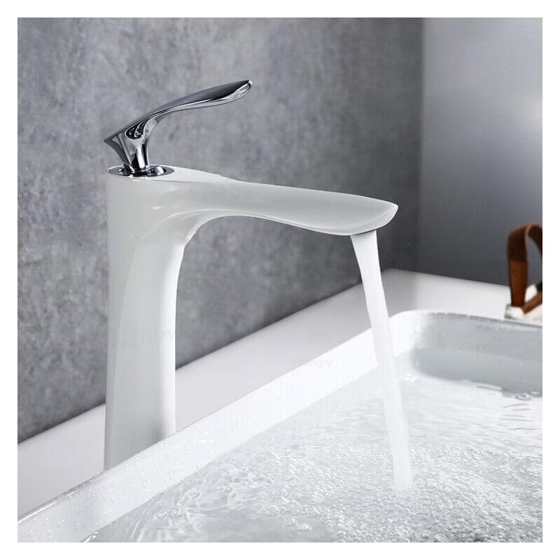 KROOS Robinet lavabo surélevé sophistiqué en laiton massif Blanc Chromé