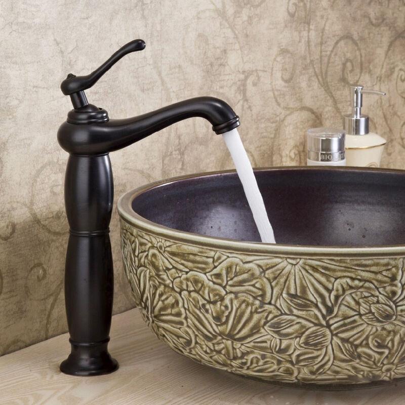 LOOKSHOP Robinet lavabo surélevé traditionnel en laiton solide Noir antique