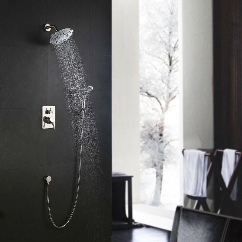 KROOS® Robinetterie moderne ronde pour douche encastrée en nickel - KROOS®
