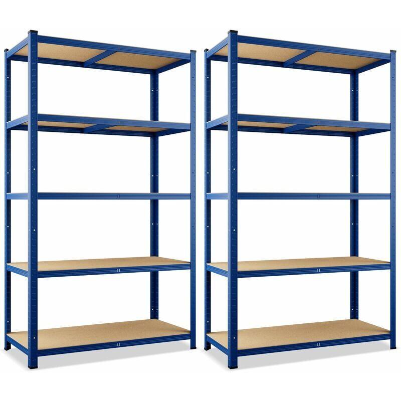 MONZANA 2x Étagères charge lourde métallique 180 x 90 x 40 cm Bleu Charge max.