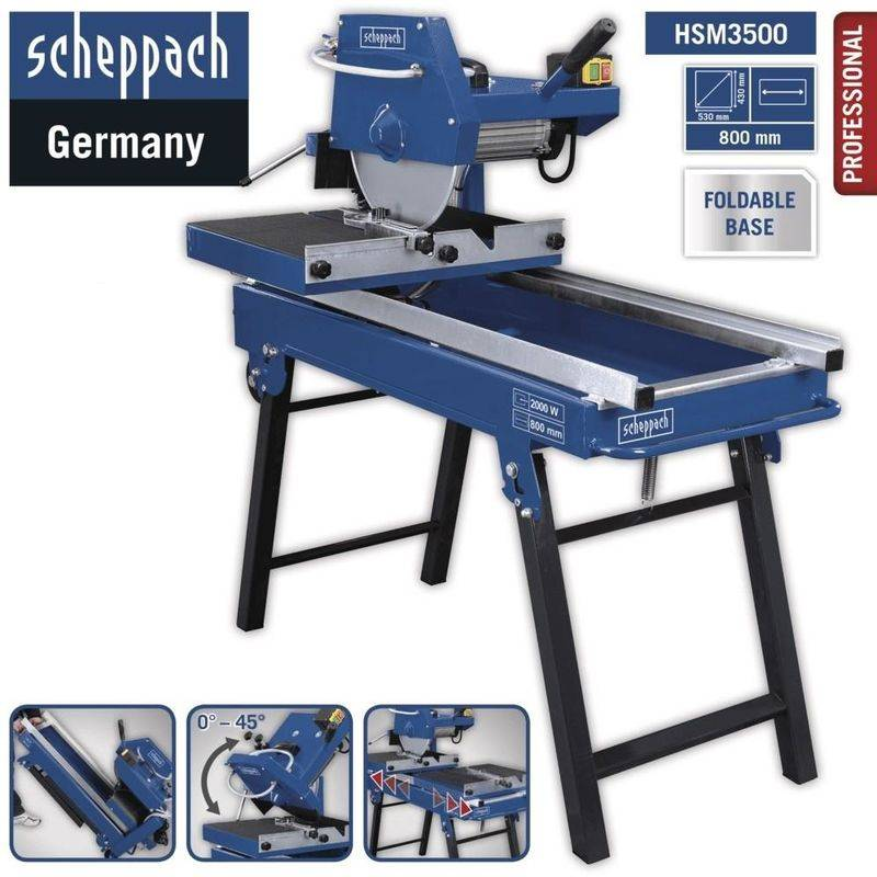 SCHEPPACH COUPE-CARRELAGE PIETEMENT PLIANT ELECTRIQUE 8X11CM SCIE 350MM HSM3500