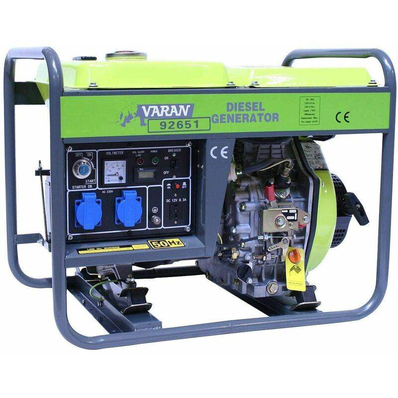 VARAN MOTORS 92651 Groupe électrogène Diesel 3300W, 2 x 230V, 1 x 12V - Gris - Varan