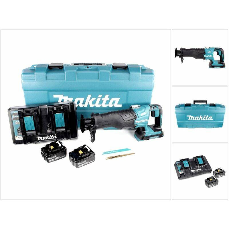 Makita DJR 360 PTJ Scie récipro sans fil 2x 18 V avec boîtier + 2x