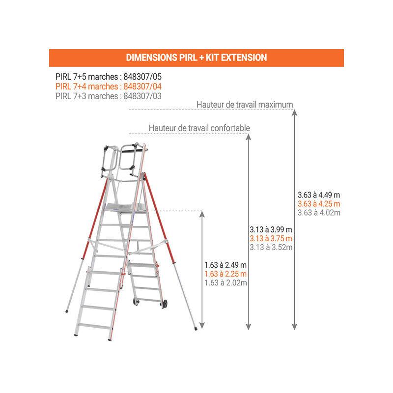ESCABEAU PIRL - MATISERE Escabeau Pirl-matisere - B. Escabeau télescopique de 7 marches avec kit