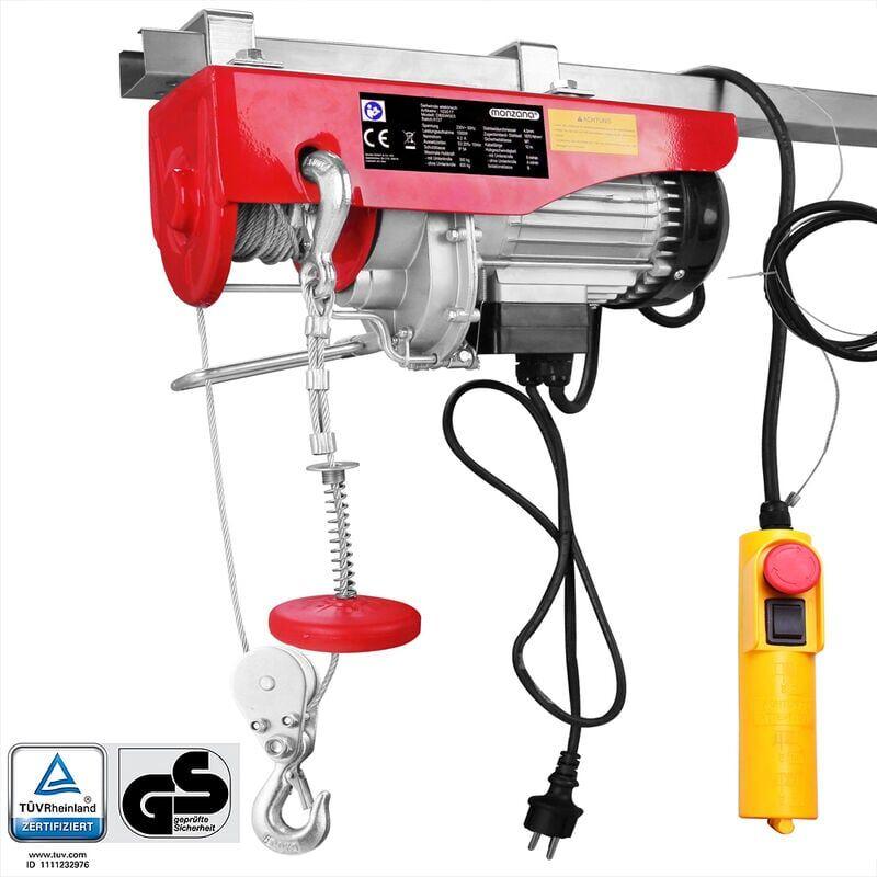 MONZANA Treuil électrique 125 - 800 kg avec câble en acier et boîtier de