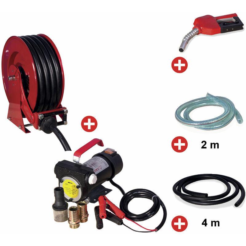 MW-TOOLS Pack enrouleur tuyau diesel de 15m avec pompe 12v MW-Tools SHD3415 SET3
