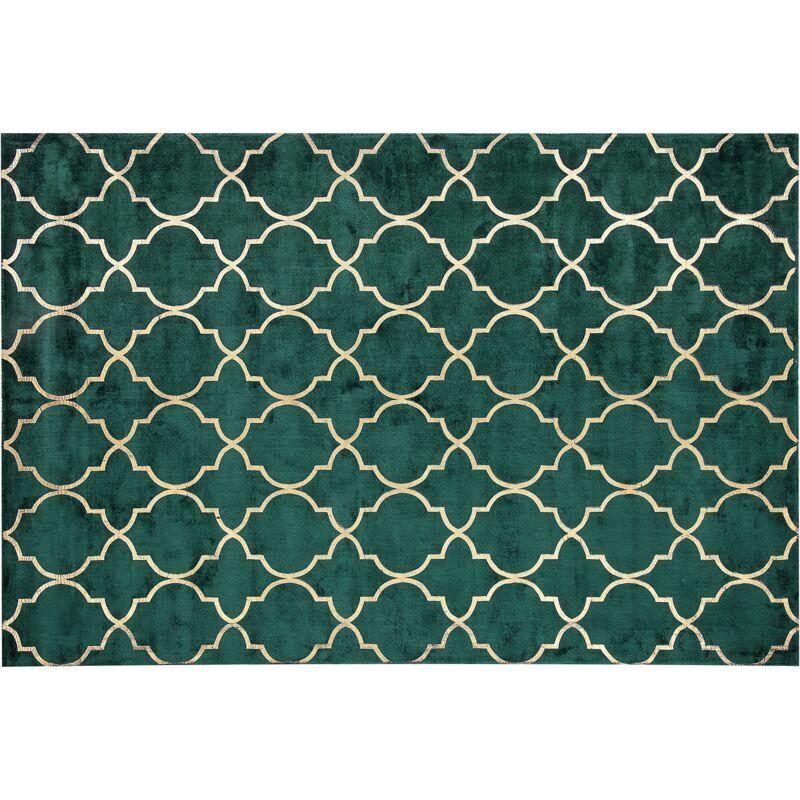 Beliani - Tapis en viscose vert foncé au motif marocain doré 140 x 200