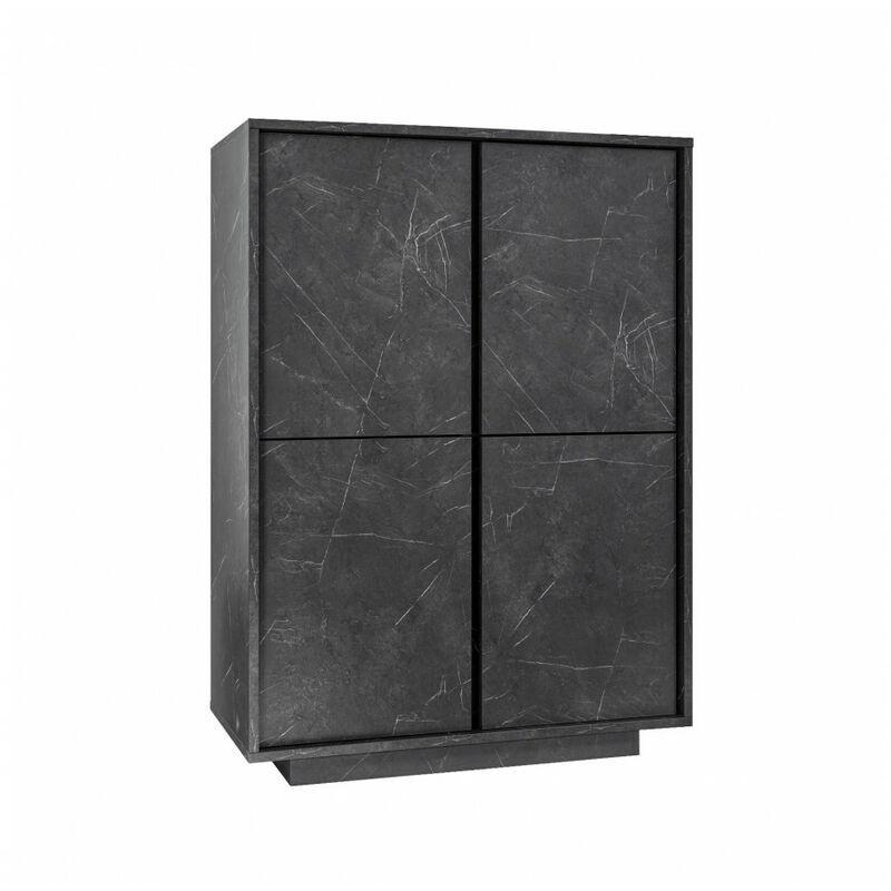 SUBLEEM Buffet haut 92 cm 4 portes FROSINONE Marbre noir - SUBLEEM