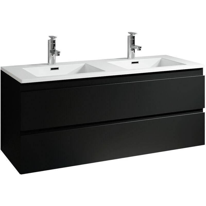 BADPLAATS Meuble de salle de bain Angela 120cm lavabo Noir – Armoire de rangement