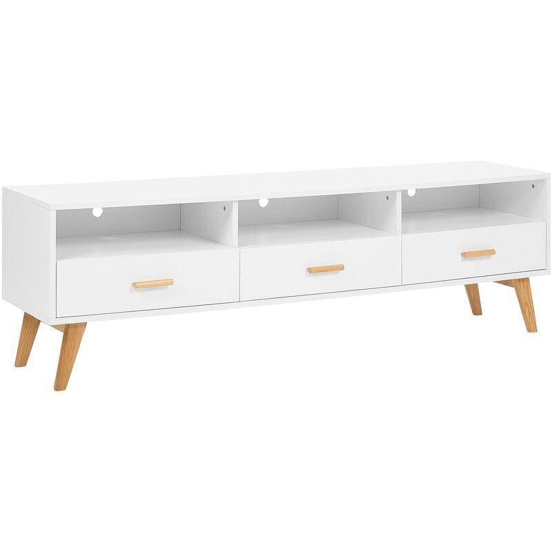 Beliani - Meuble TV blanc avec 3 tiroirs LIBERTY