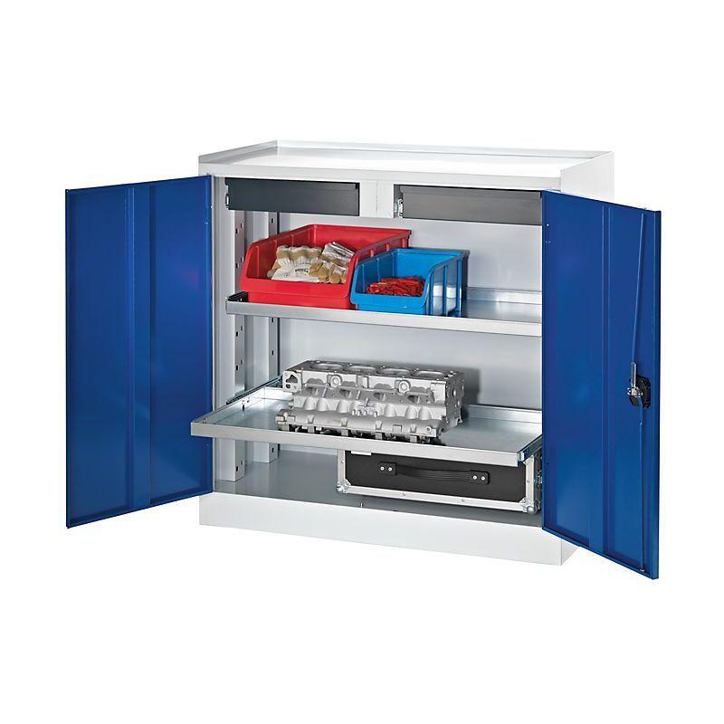 Certeo - QUIPO Armoire de service à outils - 2 tiroirs, 2 tablettes sur
