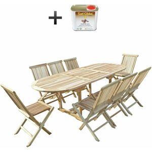 C&L JARDIN Ensemble salon de jardin en teck MAHUI 8 chaises - Bundle huile - C&L - Publicité