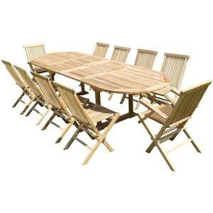 TECK'LINE Ensemble de jardin en teck premium NAYAN 8 chaises 2 fauteuils JENAE - Publicité