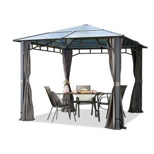 INTENT24.FR Pavillon de jardin 3x3 m imperméable toit en polycarbonate ALU DELUXE - Publicité