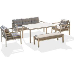 DCB GARDEN Salon de jardin CAYENNE 7P en aluminium - BLANC - DCB GARDEN - Publicité