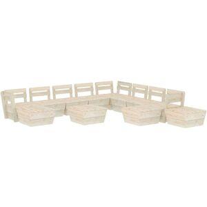 VIDAXL Salon de jardin palette 12 pcs Bois d'épicéa imprégné - Publicité