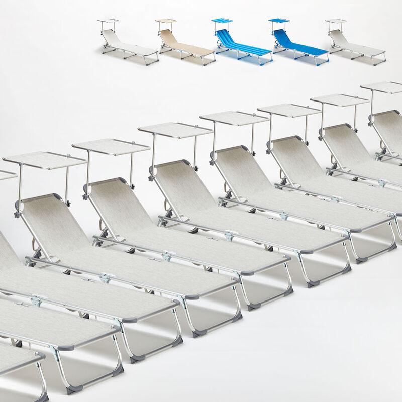 BEACH AND GARDEN DESIGN 24 transats chaises pour la mer pliants avec paresol CALIFORNIA   Gris