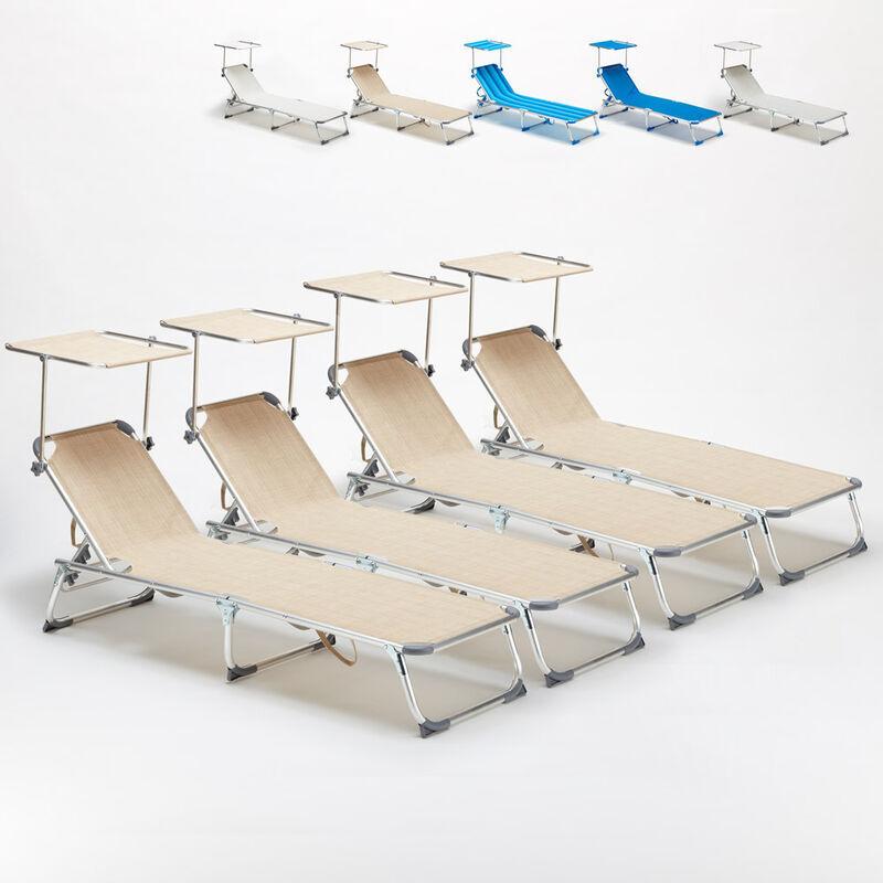 BEACH AND GARDEN DESIGN 4 transats chaises pour la mer pliants avec paresol CALIFORNIA   Beige