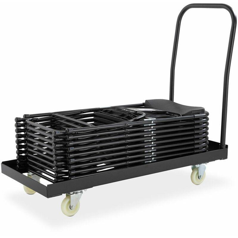 Rekkem - Lot de 50 chaises pliantes noires avec chariot de transport