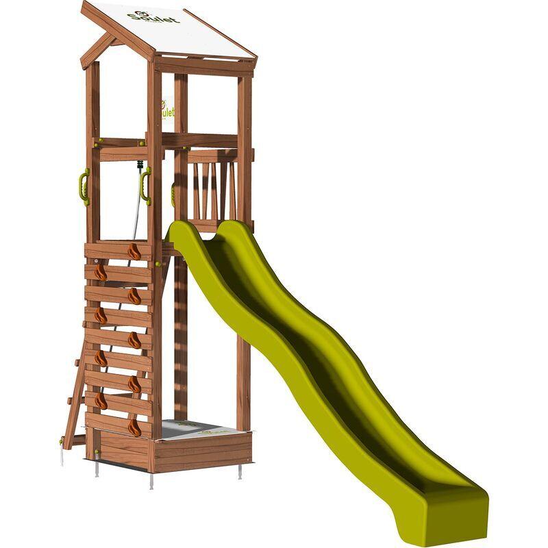 SOULET Aire de jeux pour enfant avec toit en pente et bac à sable - HAPPY