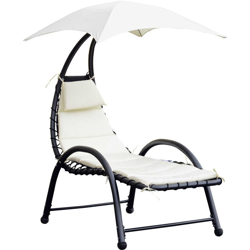 Outsunny - Bain de soleil design contemporain - pare-soleil et matelas