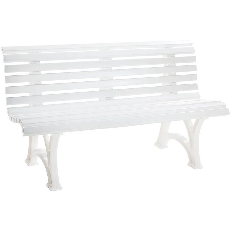 BLOME Banc d'extérieur en plastique - à 13 lames - longueur 1500 mm, blanc