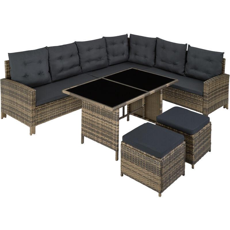 Tectake - Canapé de jardin BARLETTA modulable, variante 2 - table de