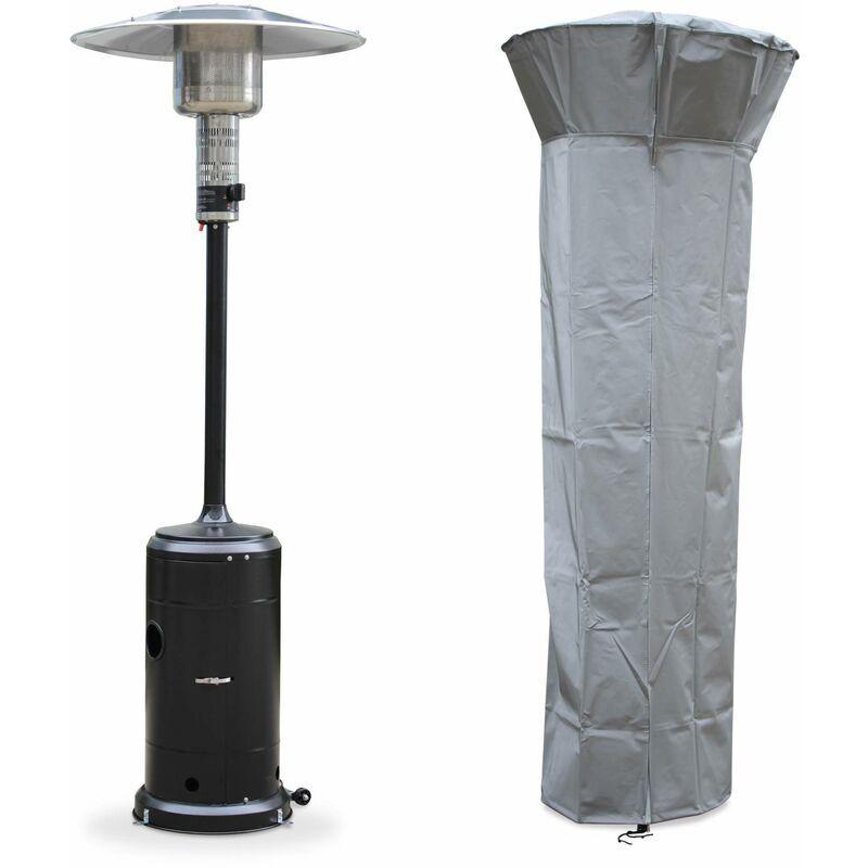ALICE'S GARDEN Chauffage d'extérieur gaz 12,5kW - Finland - Parasol chauffant noir,