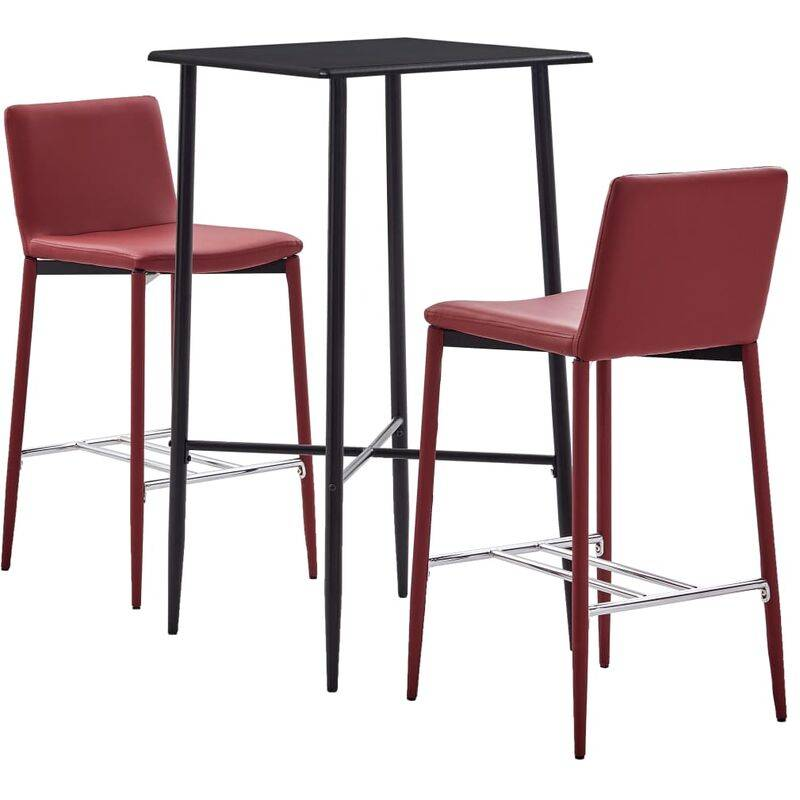 YOUTHUP Ensemble de bar 3 pcs Similicuir Rouge bordeaux - YOUTHUP