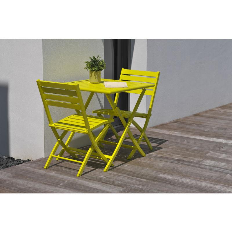 ALUMOB Ensemble table de jardin MARIUS pliante en aluminium 70x70 cm + 2