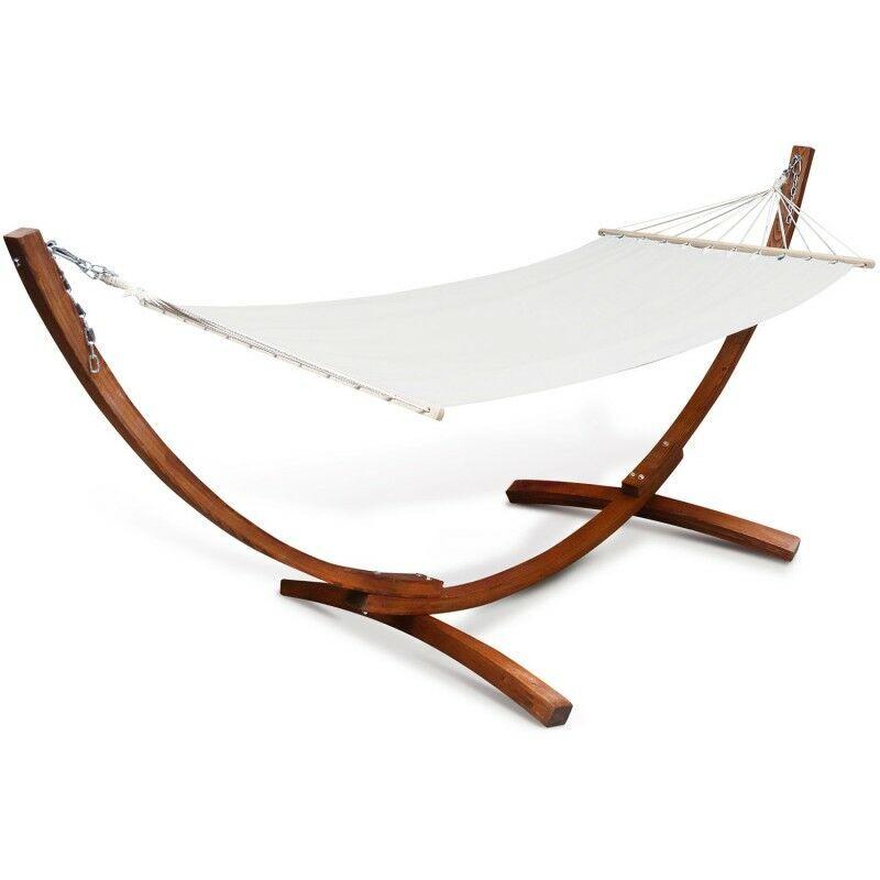 IDMARKET Hamac XL avec support bois et toile écrue - IDMARKET
