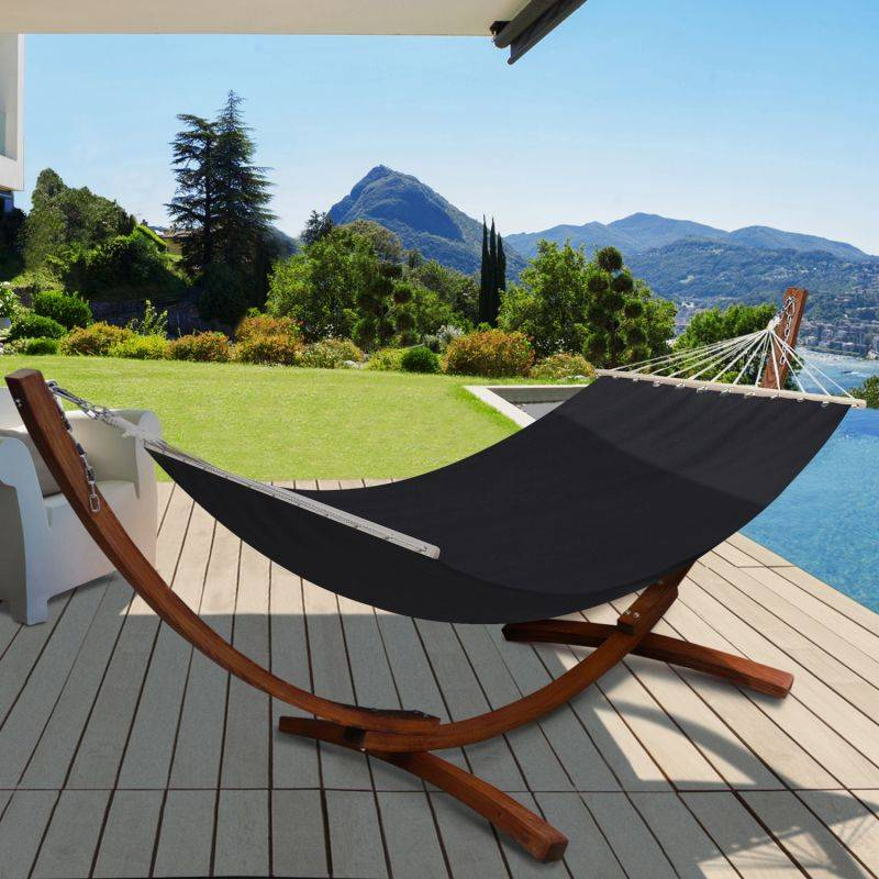 IDMARKET Hamac XL avec support bois et toile noire - IDMARKET