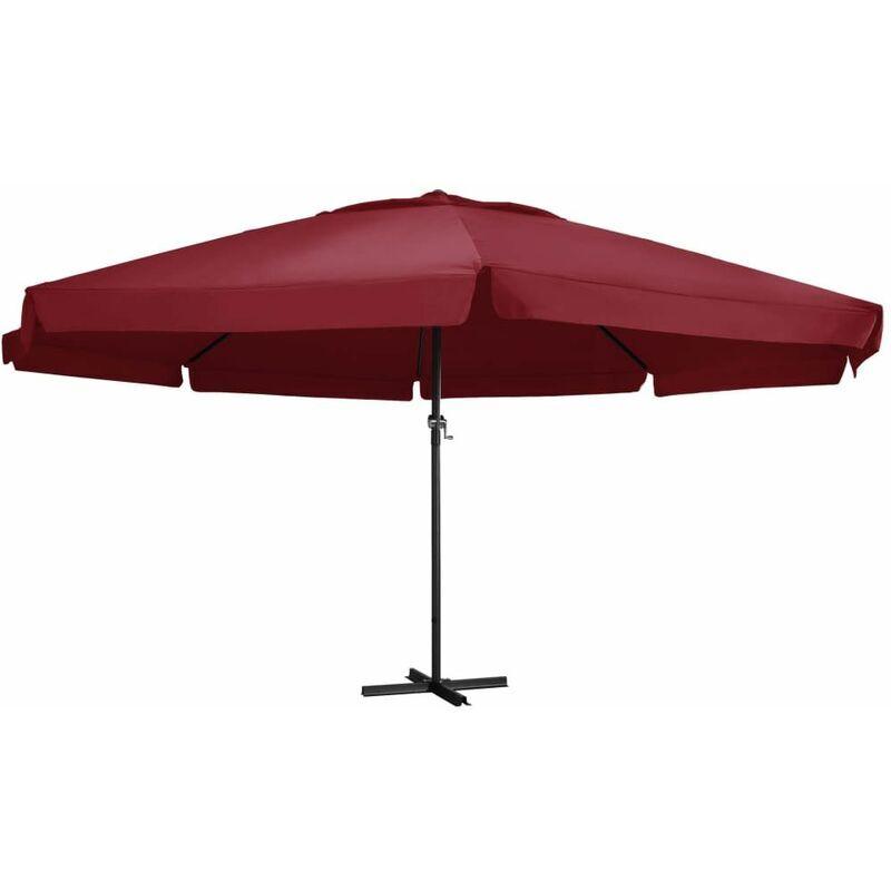 Hommoo Parasol d'extérieur avec mât en aluminium 600 cm Bordeaux