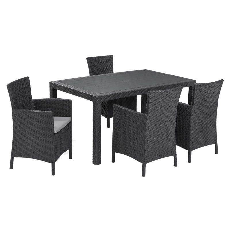 KETER Table MELODY Graphite et 4 Chaises IOWA Graphite - Keter