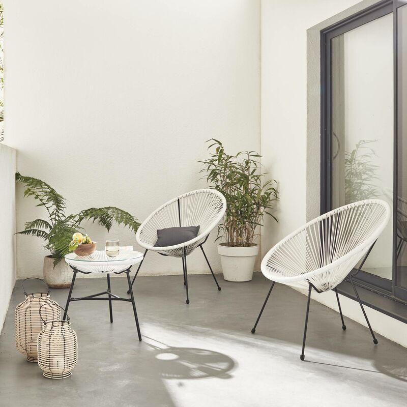 Alice's Garden - Lot de 2 fauteuils ACAPULCO forme d'oeuf avec table